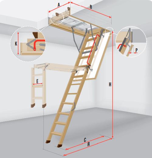 Деревянная чердачная лестница Fakro